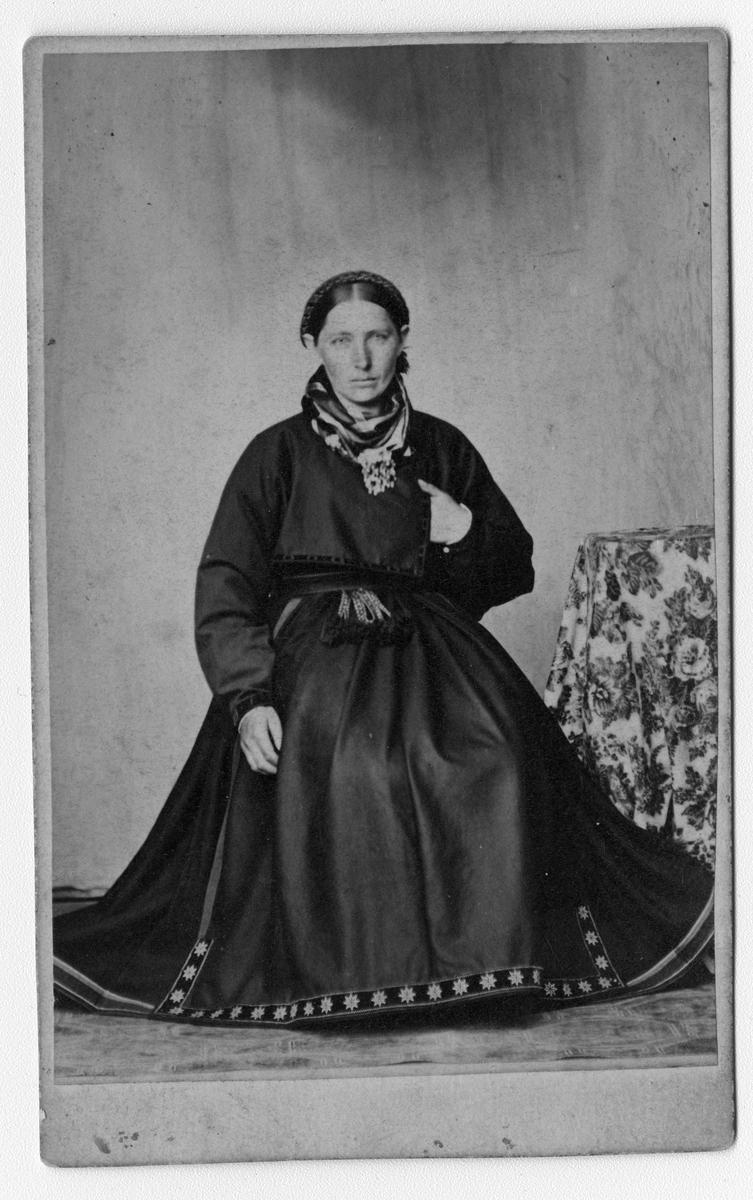 Fotosamling etter fotograf Knut Aslaksen Berdal. f. 1829 Einlaugdalen Vinje, d. 21.01.1895. Portrett av en ung kvinne i folkedrakt.