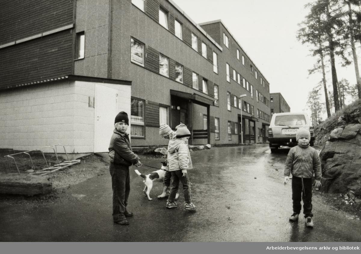 Holmlia. Sloreåsen. April 1983