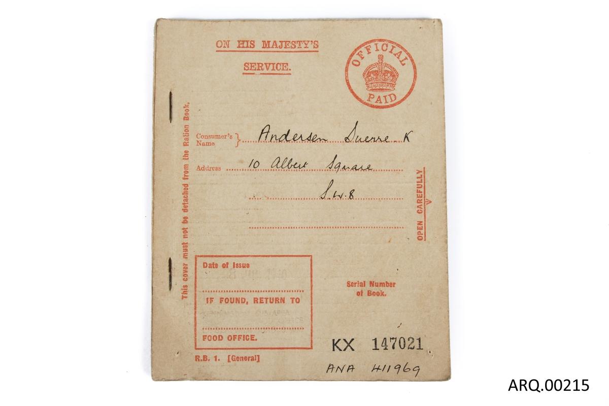 Rasjoneringshefte som har tilhørt Sverre K. Andersen, datert 8. juli 1940