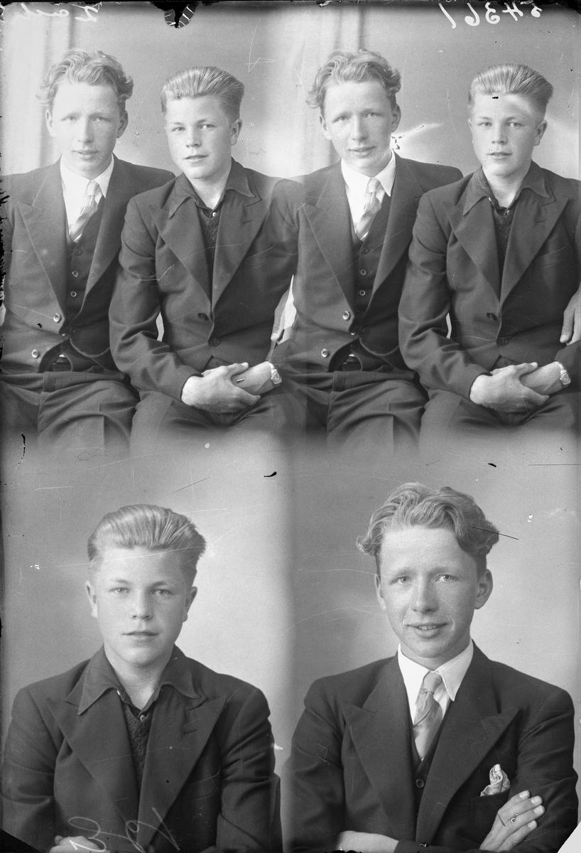 Portrett. Gruppebilde med to unge menn. Ung mørkblond mann i mørk dress, mørk vest, hvit skjorte og lyst slips. Ung mørkblond herre i mørk dress, mørk vest og mørk skjorte. To foto hver for seg og to sammen. Bestilt av Johan Grinde. Kirkegt. 194