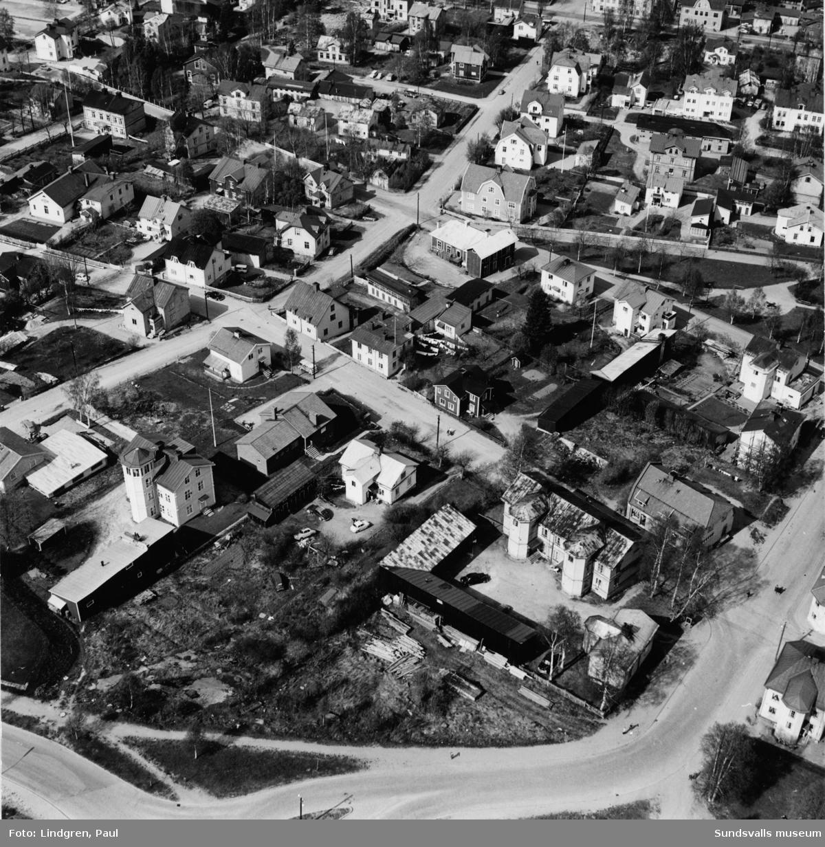 Flygbild över del av Södermalm. Fredsgatan - Södermalmsgatan - Thulegatan.