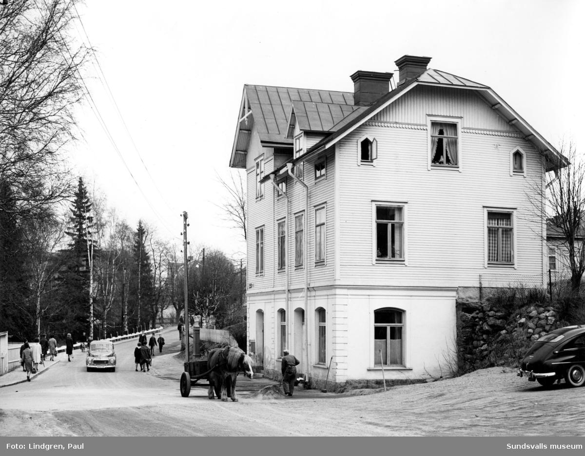 Nygatan 41. Här bodde fotograferna Maria Kihlbaum och Ester Näslund (med föräldrar). Maria i övre lägenheten högst upp och Ester i lägenheten på andra våningen.