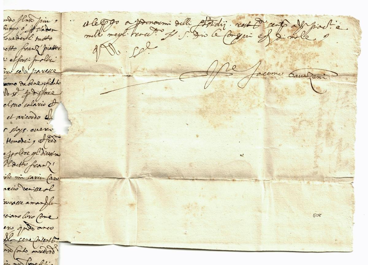 """""""Jacomo Gavazeni hade skrivit från Stockholm om återvinnandet av hans skepp, Santo Francenso de Paula, vilket hade blivit kapat på dess väg till Lissabon och taget till England. Två representanter hade blivit sända till London vilka hade underrättat att skeppet hade blivit återtaget med allt dess gods och att 210 pund skulle betalas som ersättning. Johan III av Sverige och Don Carlos hade skrivit till Drottning Elisabeth för att att ställa saken tillrätta.""""  From auction: """"Jacomo Gavazeni had written from Stockholm about the revocery of his ship, the S(an)to Fr(ancesc)o de Paula, which had been captured on its way to Lisbon and taken to England. Two representatives had been sent to London who had advised that the ship had been recovoered with all its goods, and £210 compensation would be paid. The King (Johan III) of Sweden and Don Carlos (the Regent) had written to Queen (Elizabeth) to put the matter right."""""""