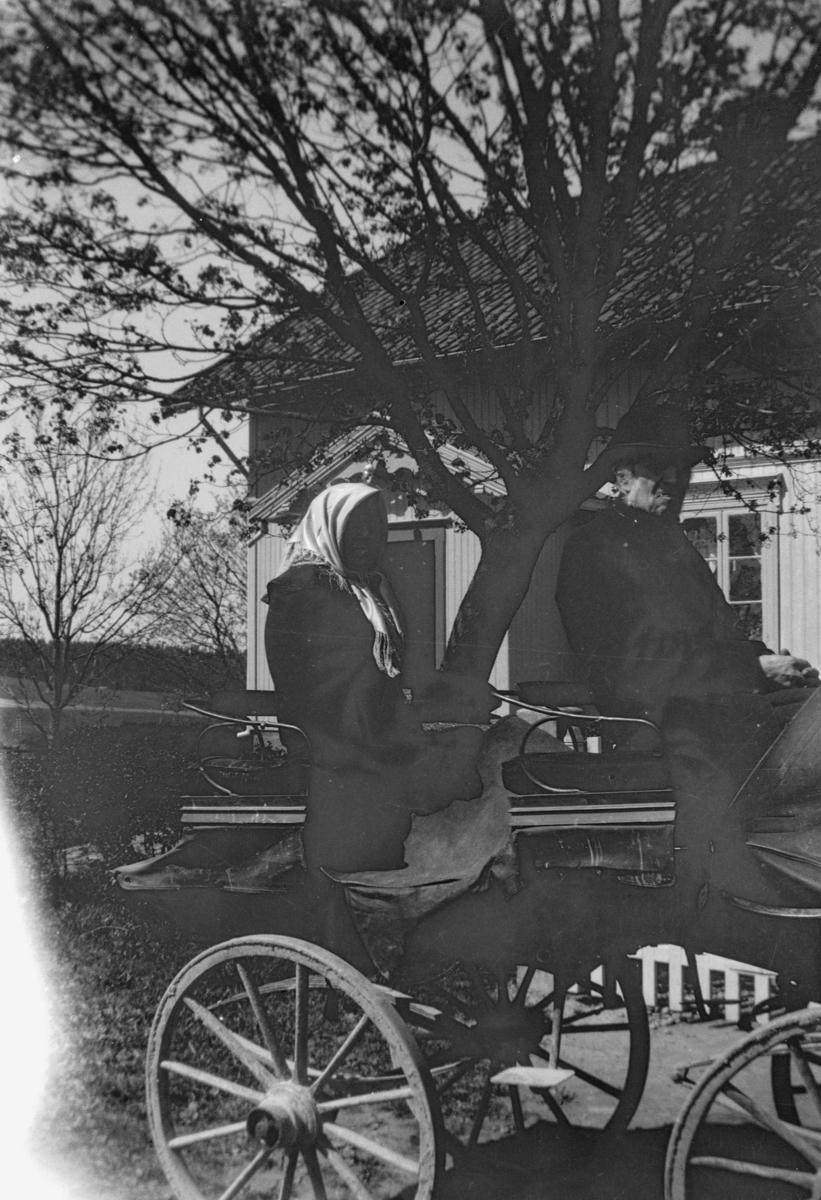 Mann og kvinne sittende i en firehjuls hestevogn