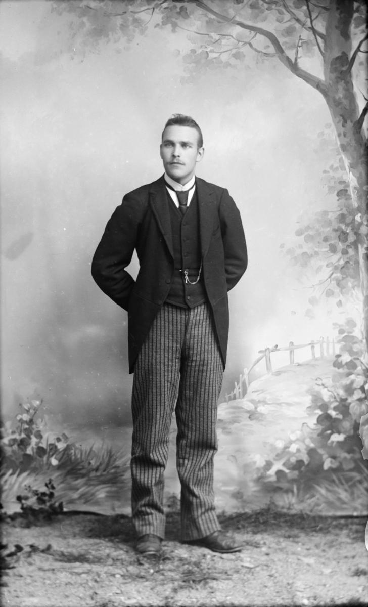 Atelierfoto av mann i mørk jakke og stripet bukse.