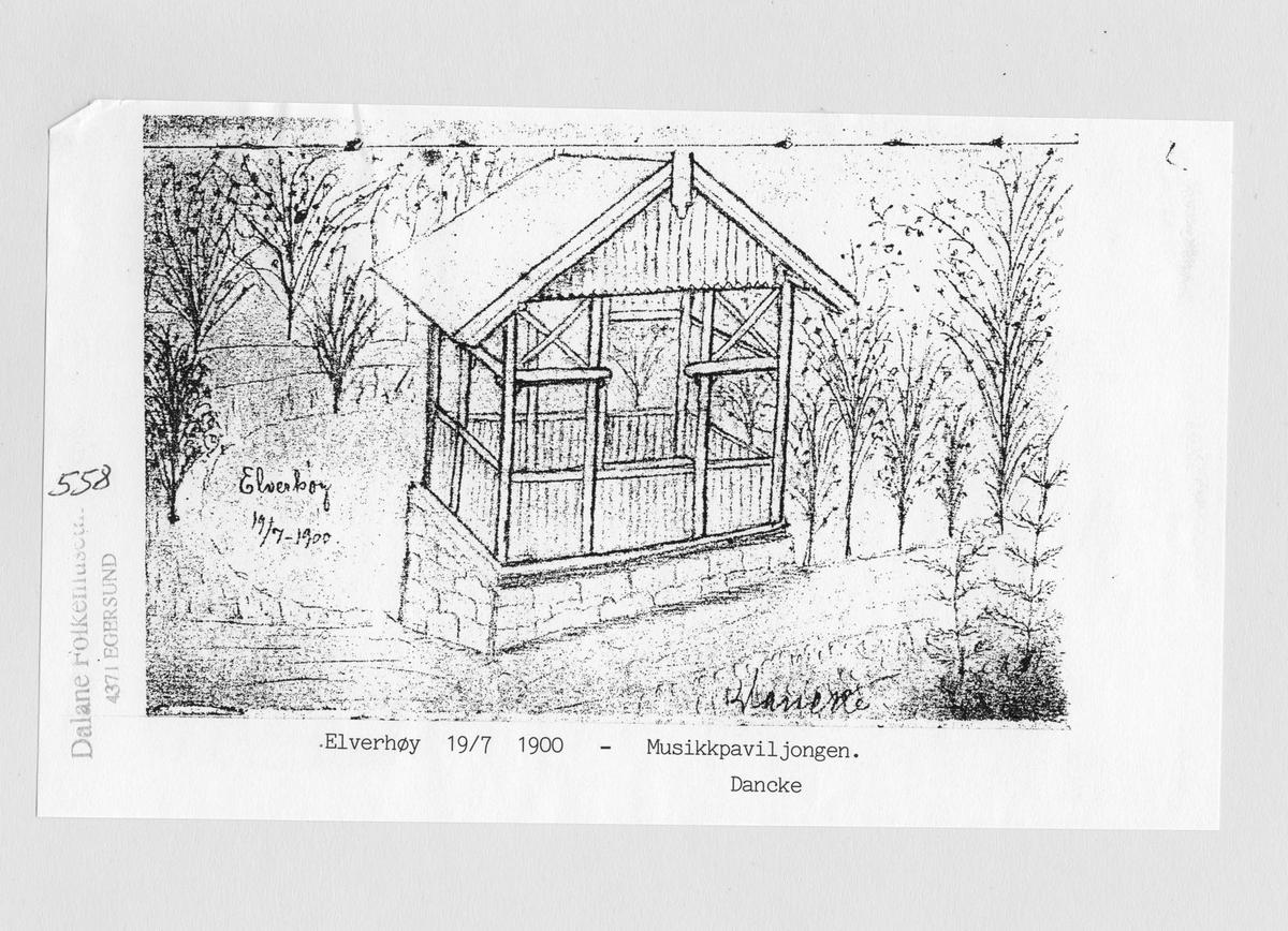 Elverhøy, musikkpaviljongen, tegning