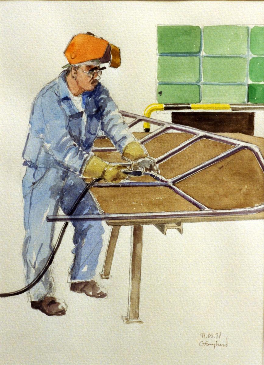 Rolf Åberg. 1991.03.27. AGEVE. Georg Englunds akvareller av/till arbetarna i Gävle när AGEVE flyttade 1993. En utställning i Paris 1993. Akvarellerna ställdes även ut i lunchrummet på AGEVE.