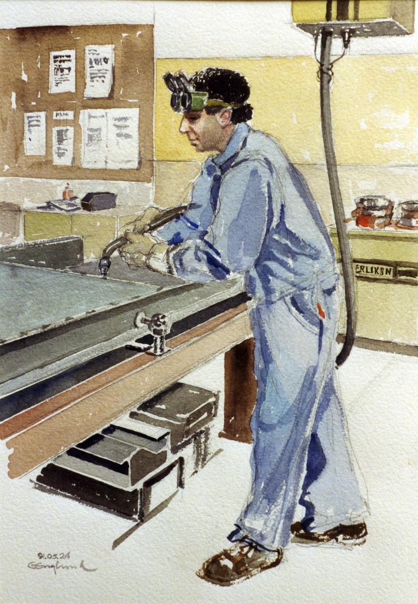 Baridi Mohammed. 1991.05.24. AGEVE. Georg Englunds akvareller av/till arbetarna i Gävle när AGEVE flyttade 1993. En utställning i Paris 1993. Akvarellerna ställdes även ut i lunchrummet på AGEVE.