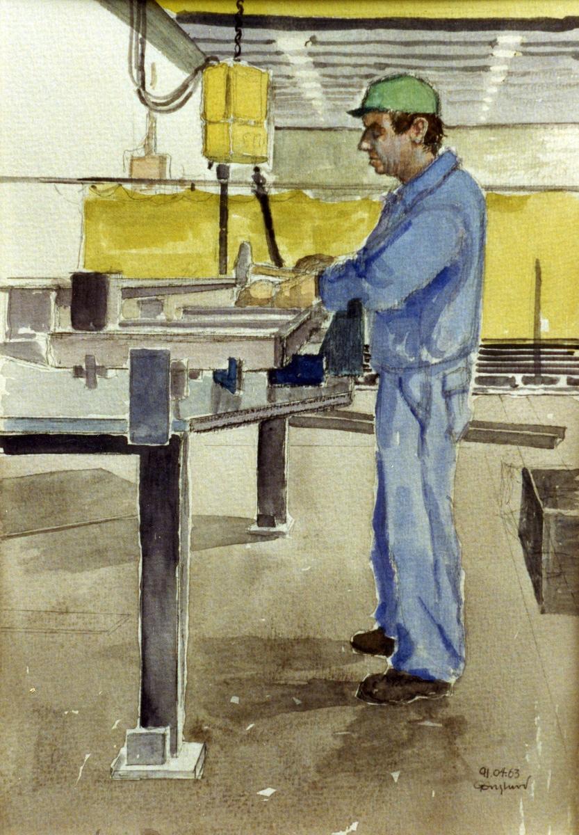 Boris Svensson. 1991.04.03. AGEVE. Georg Englunds akvareller av/till arbetarna i Gävle när AGEVE flyttade 1993. En utställning i Paris 1993. Akvarellerna ställdes även ut i lunchrummet på AGEVE.