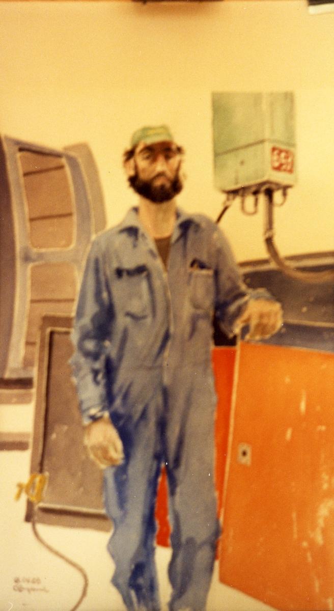 1992.04.08. AGEVE. Georg Englunds akvareller av/till arbetarna i Gävle när AGEVE flyttade 1993. En utställning i Paris 1993. Akvarellerna ställdes även ut i lunchrummet på AGEVE.