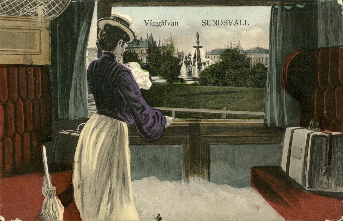 Vykort med utsikt över Vängåvan från en tågkupé.