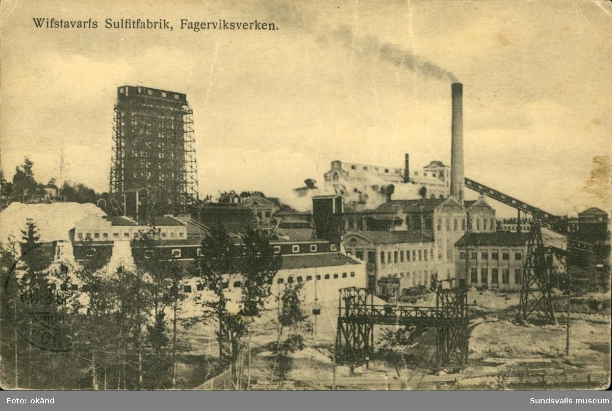 Vykort med motiv över Vivstavarvs Sulfitfabrik, Fagerviksverken i Timrå.