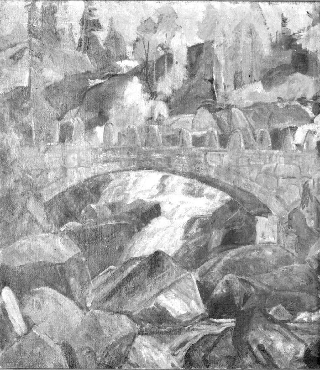 Repro: Foto av blyanttegning av Colletts bro, Mesnaelva.