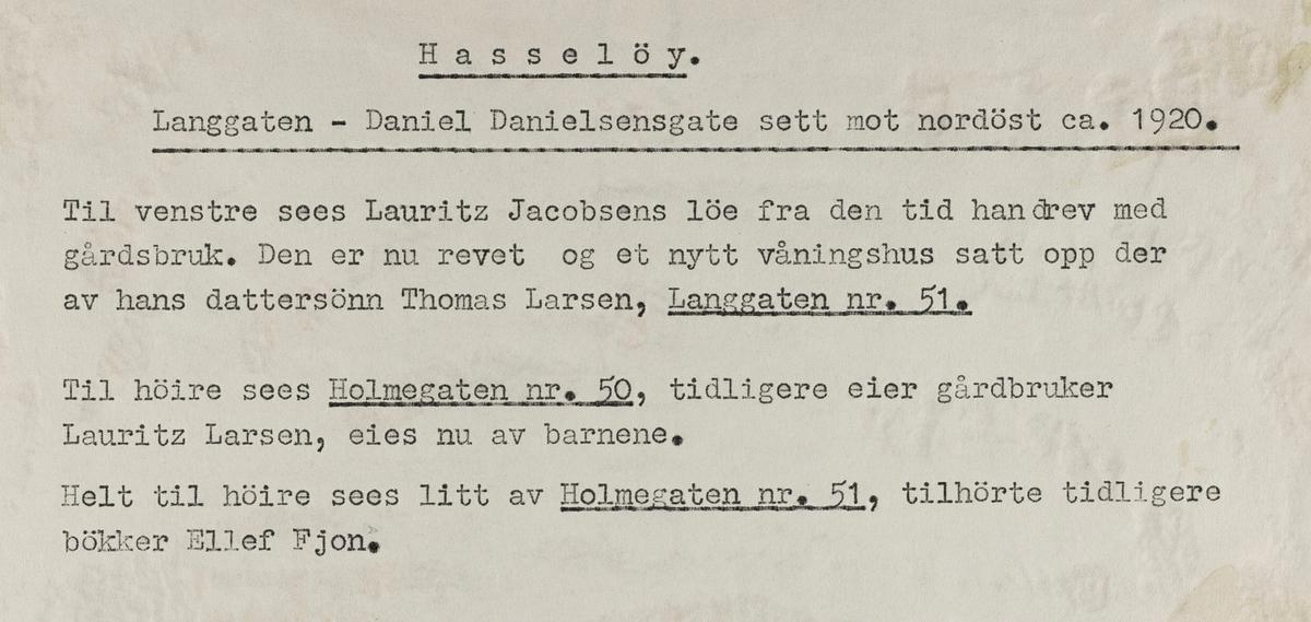 Hasseløy; Langgaten - Daniel Danielsens gate sett mot nordøst, ca. 1920.