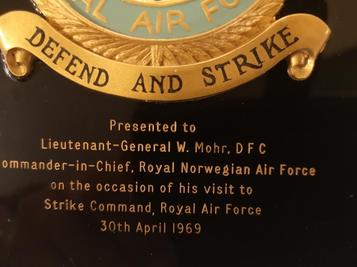 RAF Strike Command to Lt Gen W. Mohr  C-i-C Royal Norwegian Air Force visit to Strike Command RAF 30th april 1969