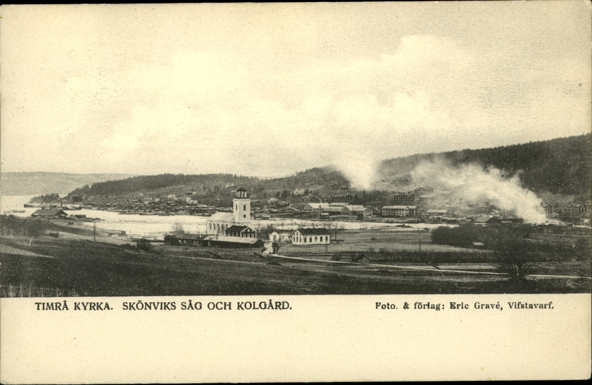 Vykort med motiv över Timrå kyrka, Skönviks såg och kolgård.