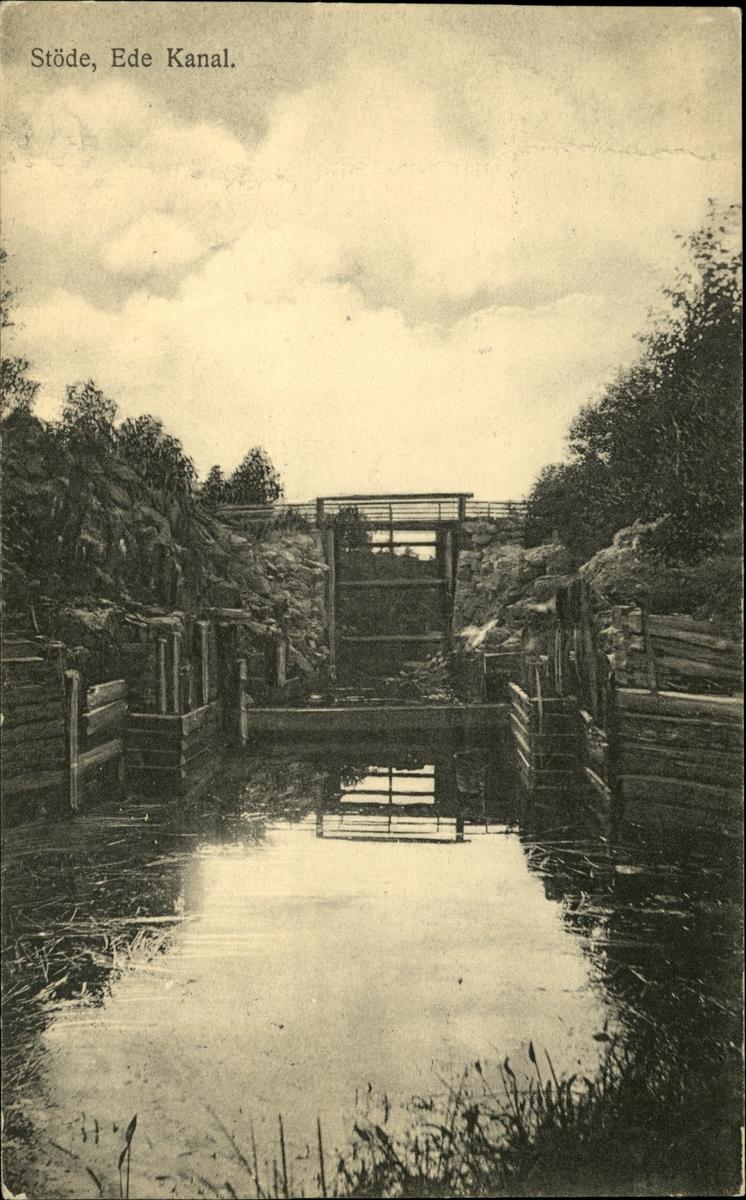 Vykort med motiv över Ede kanal i Stöde.