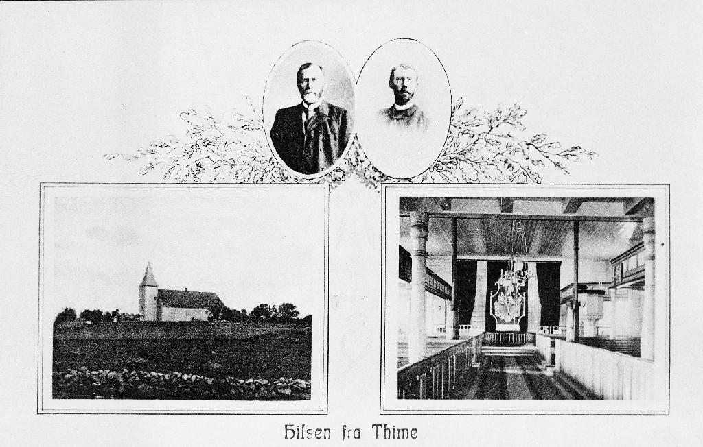 Prospektkort av Time kyrkje. Prestane er t.v. Theodor Borchrevink (1858 -1909), prest i Time (1900 - 1908) og til h. Realf Ottesen (9.1.1860 - ?), prest i Time (1908 - 1914)