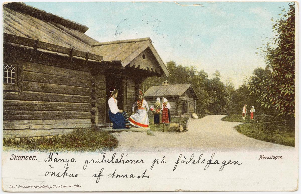 Vykort med motiv från Skansen. Morastugan.