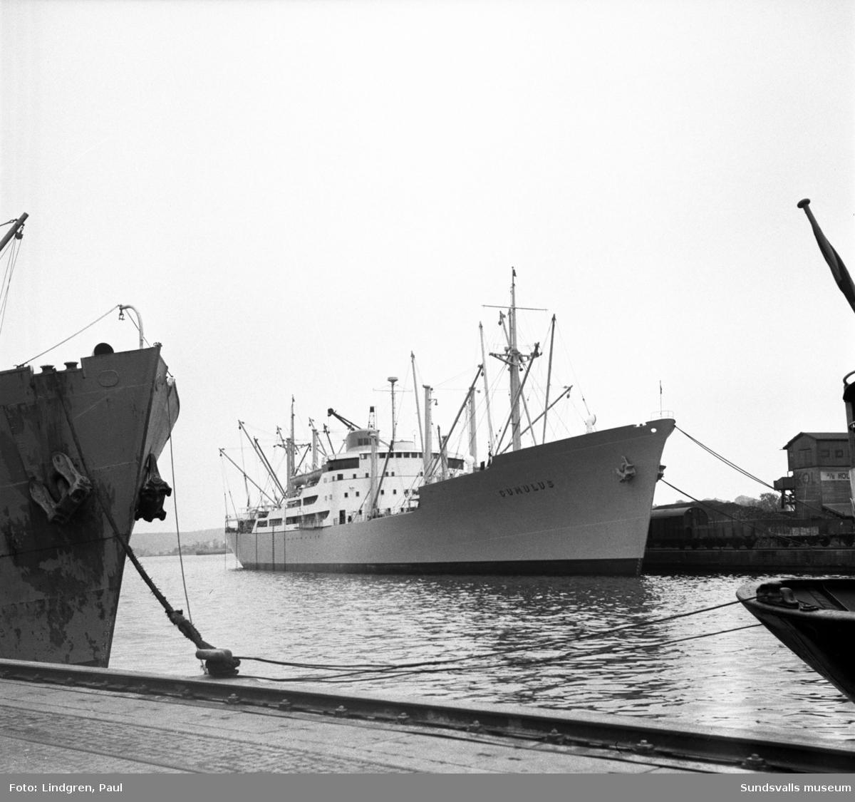 Lastfartygen Aspen och Cumulus i Sundsvalls hamn. Aspen, som lossade den största kollast (8 350 ton) som då någonsin fraktats upp till Sundsvallsdistriktet, och var avsedd för Sundsvall och Svartviks fabrik. Cumulus var det modernaste och snabbaste lastfartyg som angjort Sundsvall. Fartyget skulle lasta massa för att därefter gå till Australien.