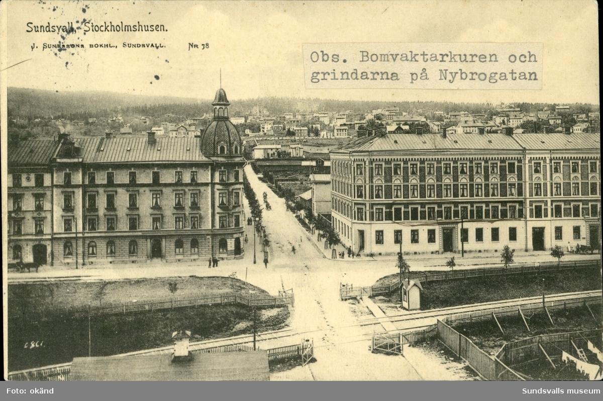 Vykort med motiv av Stockholmshusen i Sundsvall.