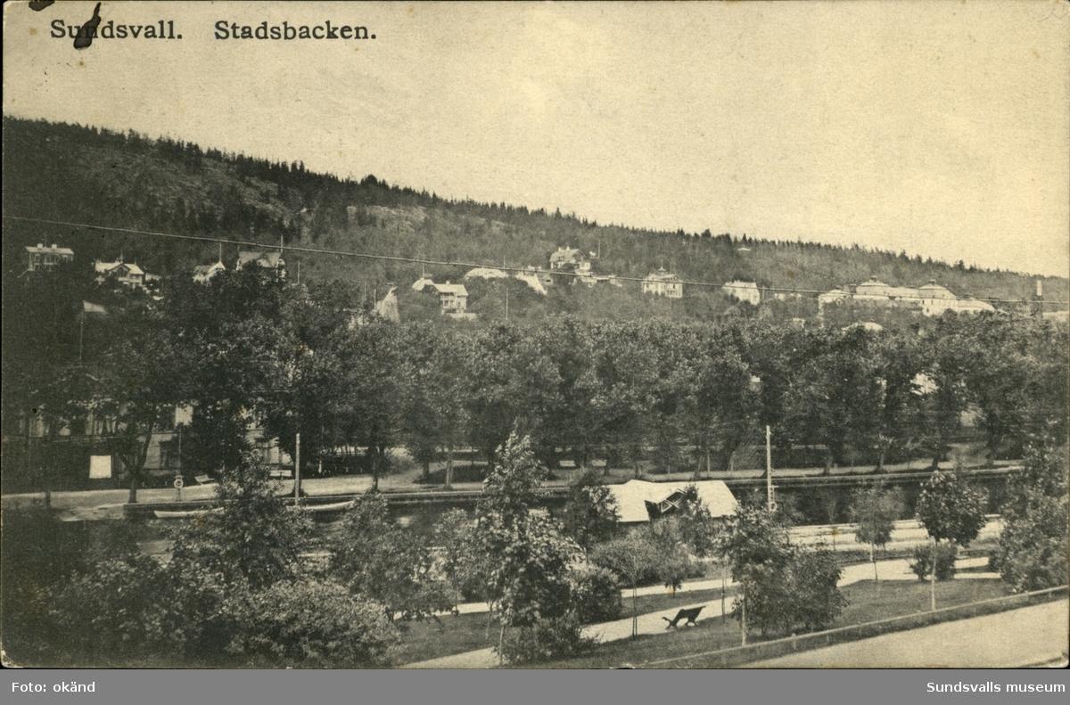 Vykort med motiv över Stadsbacken i Sundsvall.