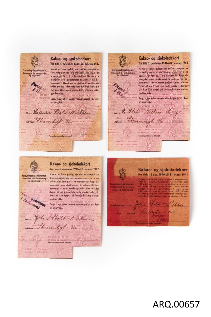 Seks kort fra 1940 - 1942