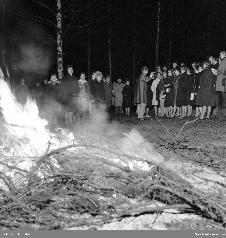 Valborgsfirande 1962 vid baptisternas sommarhem Tallinge i Fläsian. Elimkyrkans ungdomskör sjöng vårsånger under ledning av Kjell Lönnå.