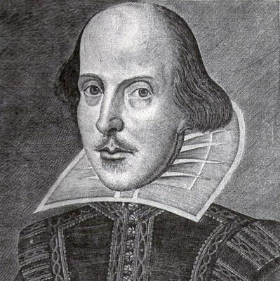 Svart-hvitt tegnet portrett av William Shakespeare.