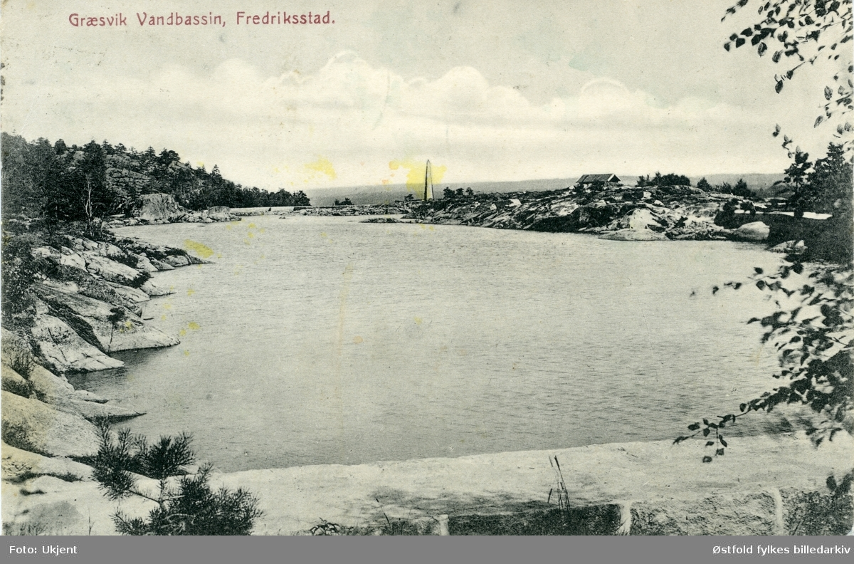 Gressvik vannbasseng i Onsøy, Fredrikstad, 1916. Postkort.