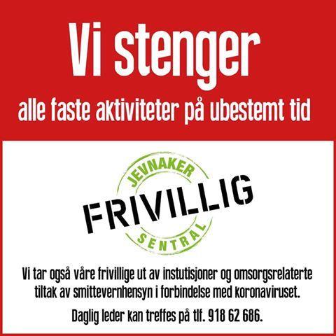 Plakat fra Jevnaker Frivillighetssentral, 12.3.2020 (Foto/Photo)