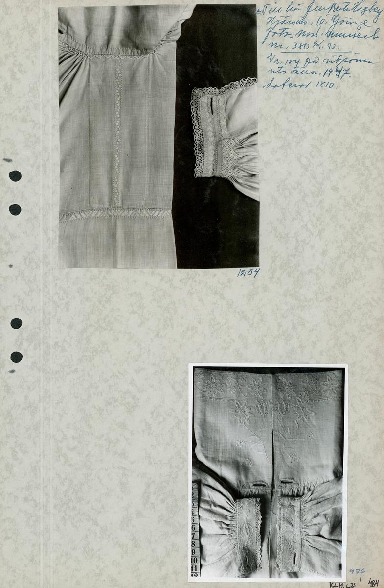 Kartongark med två foton av skjortor