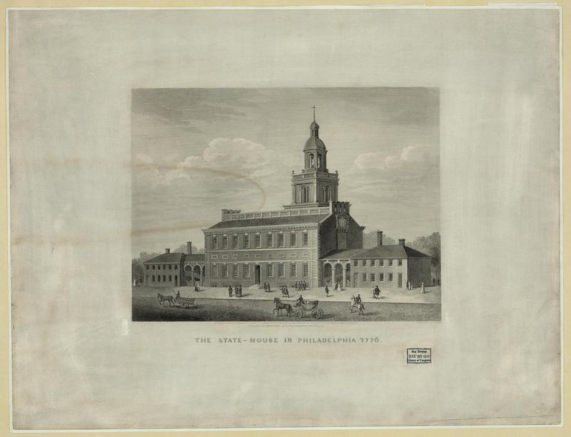 Independence Hall i Philadelphia. Gravering av J. Serz etter tegning fra 1776. Library of Congress (Foto/Photo)