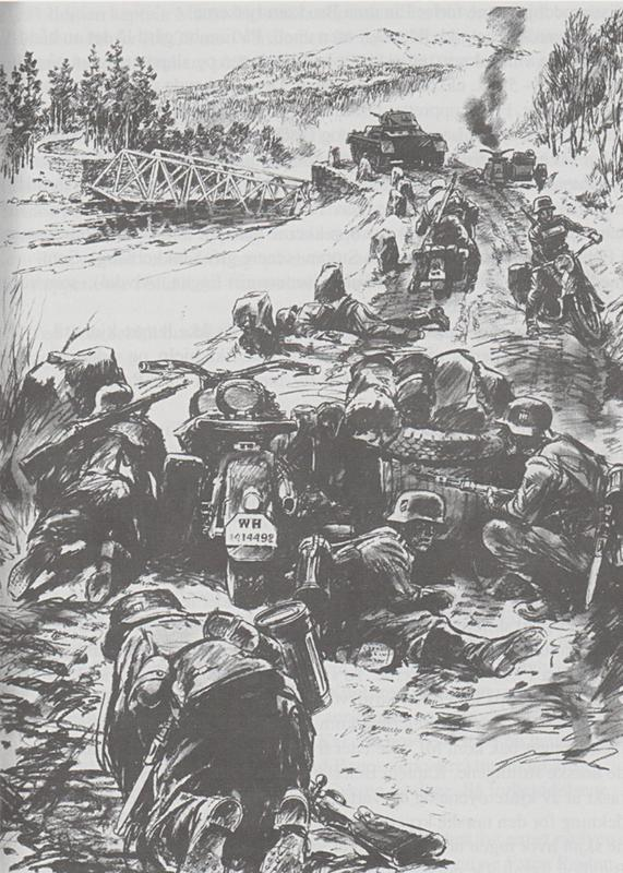Tyske soldater har stoppa ved Einunna bru og er satt under kryssild fra norske styrker. Tegning av Andreas Hauge. Det må påpekes at tegninga synes å samsvare lite med det som kildene sier om oppsettinga av den tyske styrka da den nærma seg brustedet ved Einunna. Fra Grimsbu: Krig og okkupasjon i Folldal.