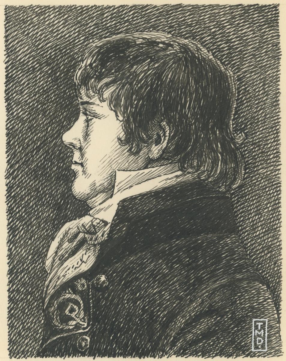 Richard Momme Peterson (1833-1912), grunnlegger av M. Peterson & Søn, samt skipsreder. Født i Danmark (Schlesvig). Tegning av Trygve M. Davidsen, ukjent årstall.