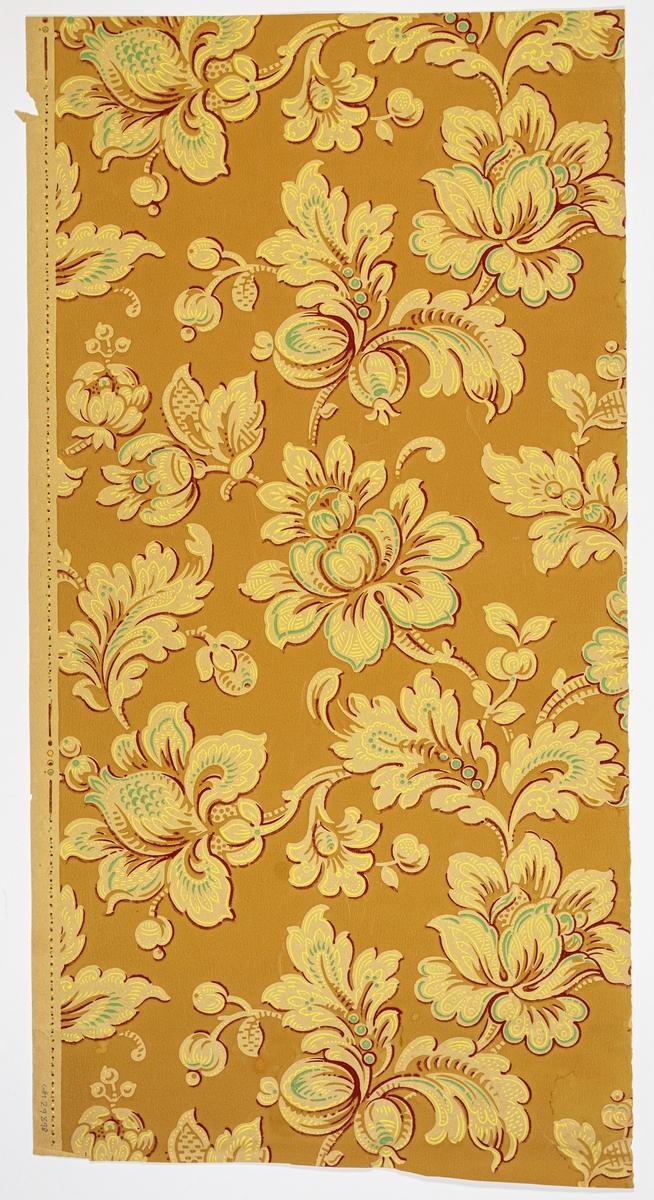 Gulgrått genomfärgat papper med stort fantasifullt blommönster. Tryck i gult, tukos och vinrött på en brun bakgrund.