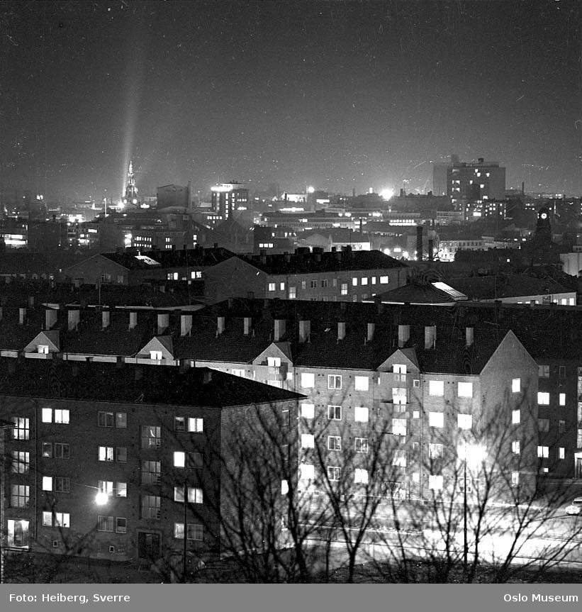 utsikt, boligblokker, bygårder, by, nattemørke
