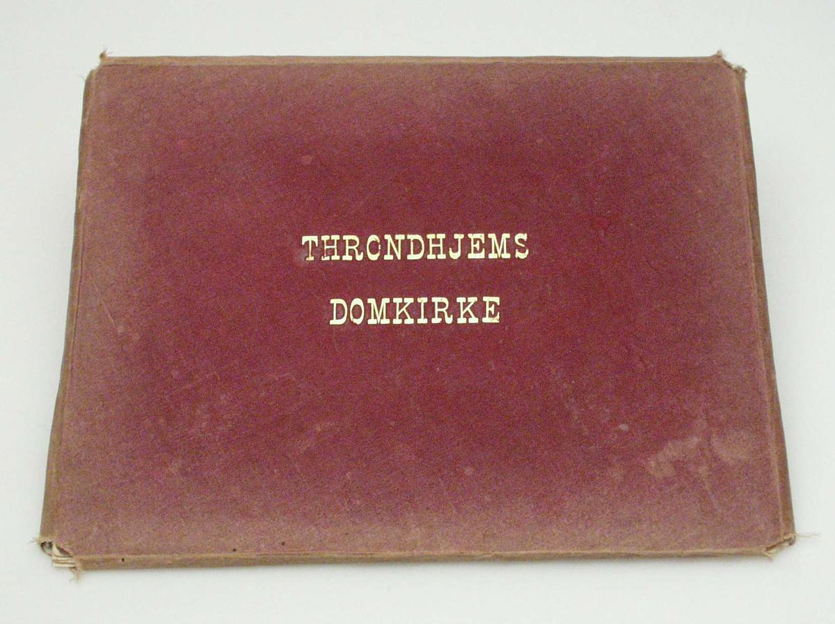 Tolv fotografier på kartong. Teksten er skrevet med blekk. Bildene ligger i en burgunder mappe.