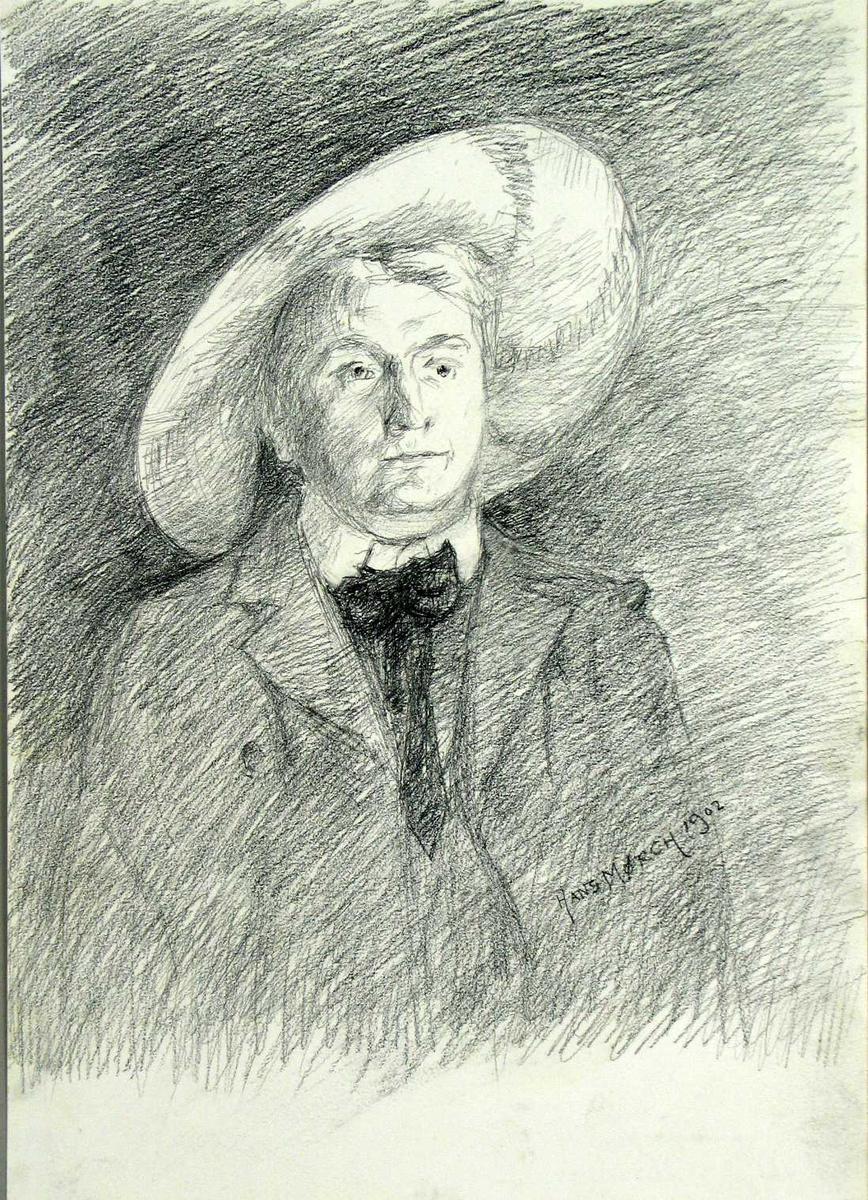 Portrett av en mann iført vidbremmet hatt.