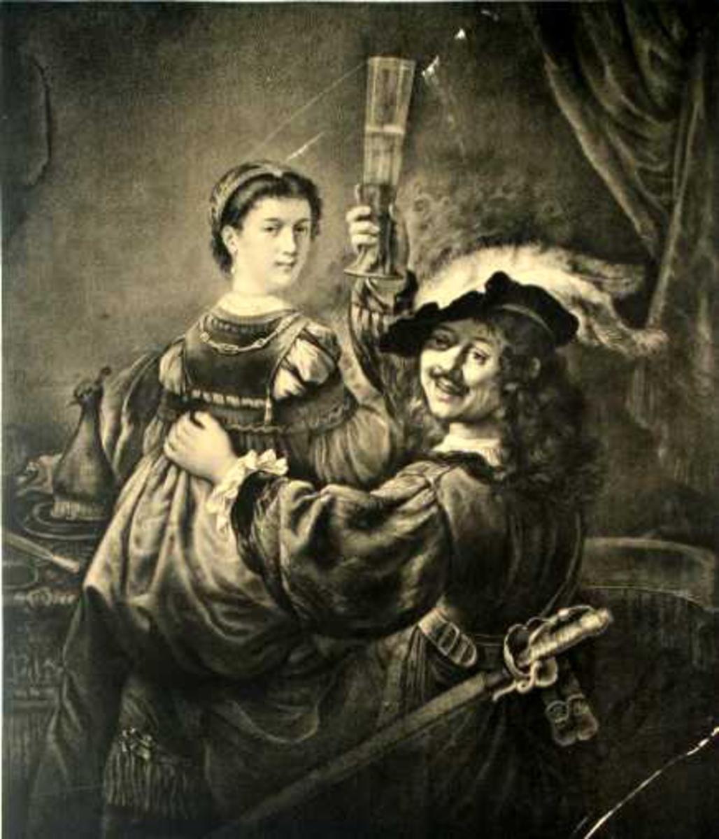 Mann med kvinne på fanget. Han bærer et sverd i beltet og hever glasset til skål.