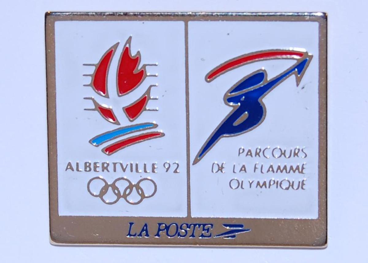 Merke med emblemet for de olympiske vinterleker i Albertville i 1992 og antakeligvis en logo for  LA POSTE.