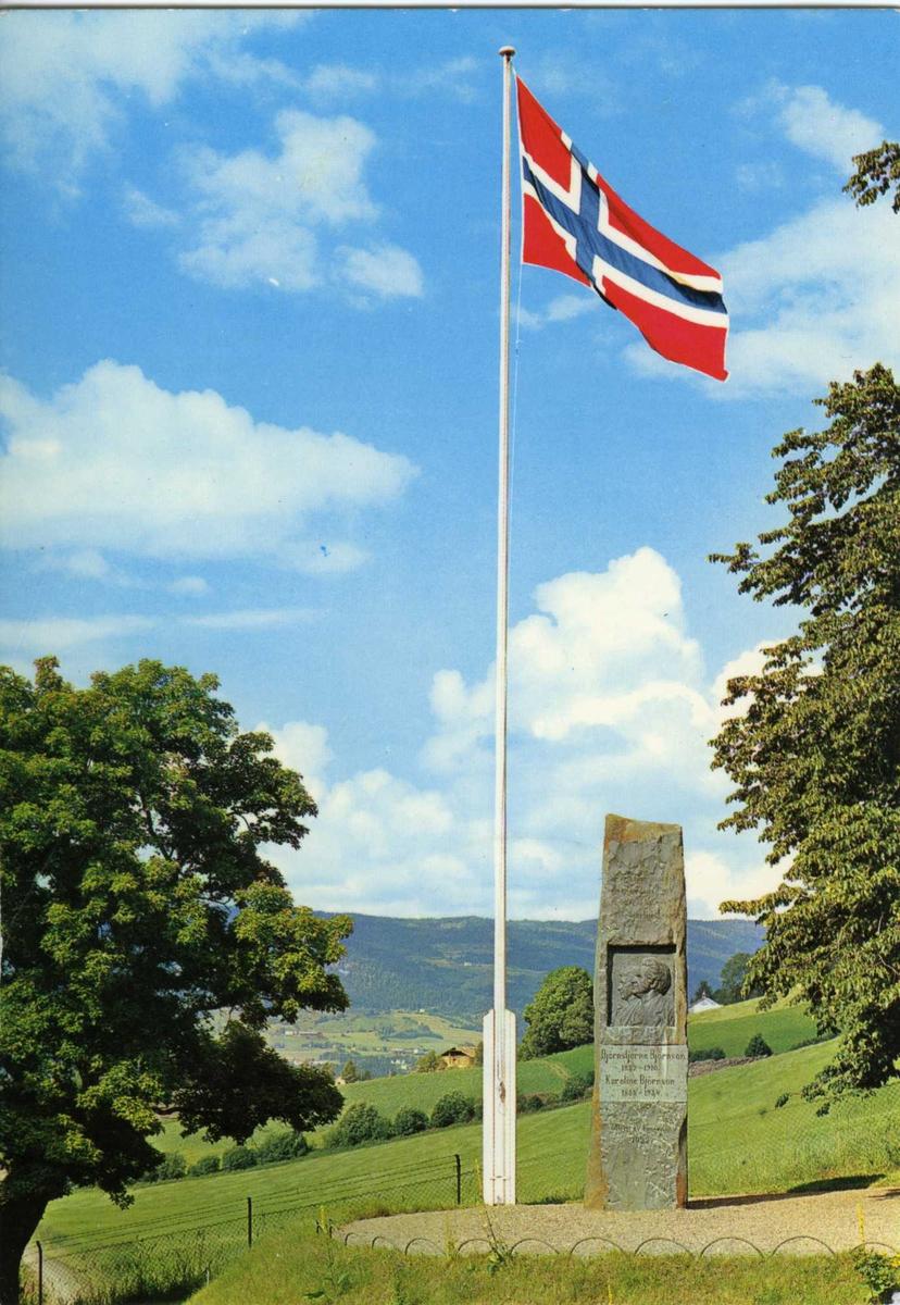 DOK:1960-tallet, Aulestad, flagg, bauta, postkort,