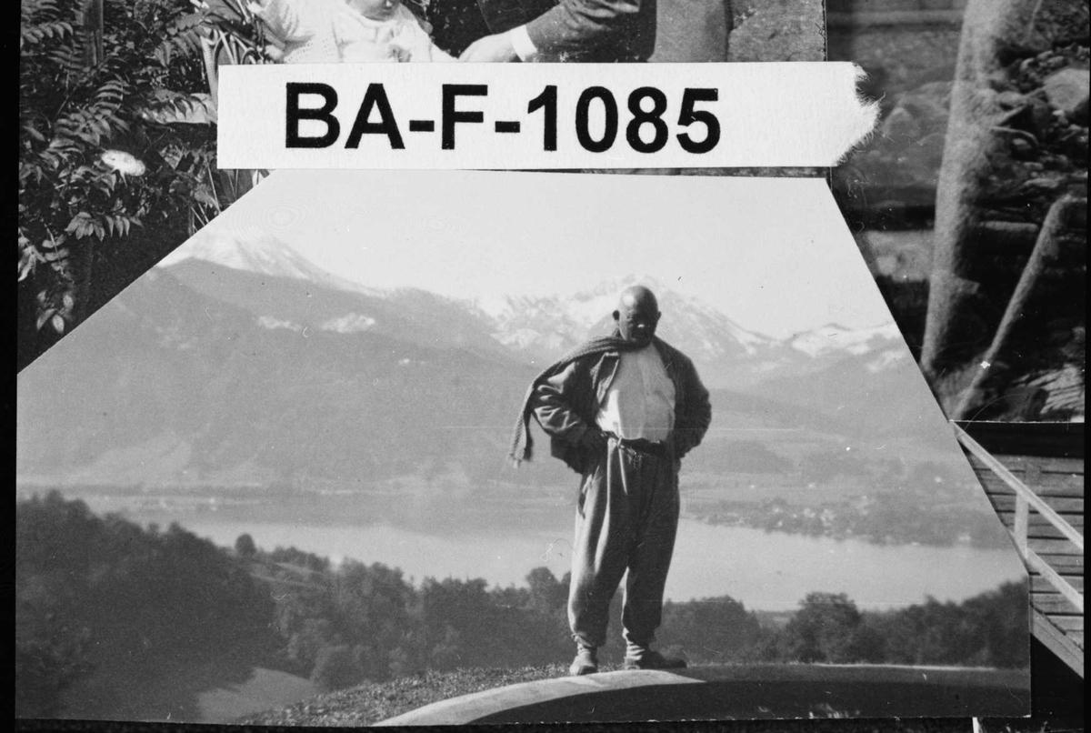 Fotomontasje, Olaf Gulbransson, fjell,