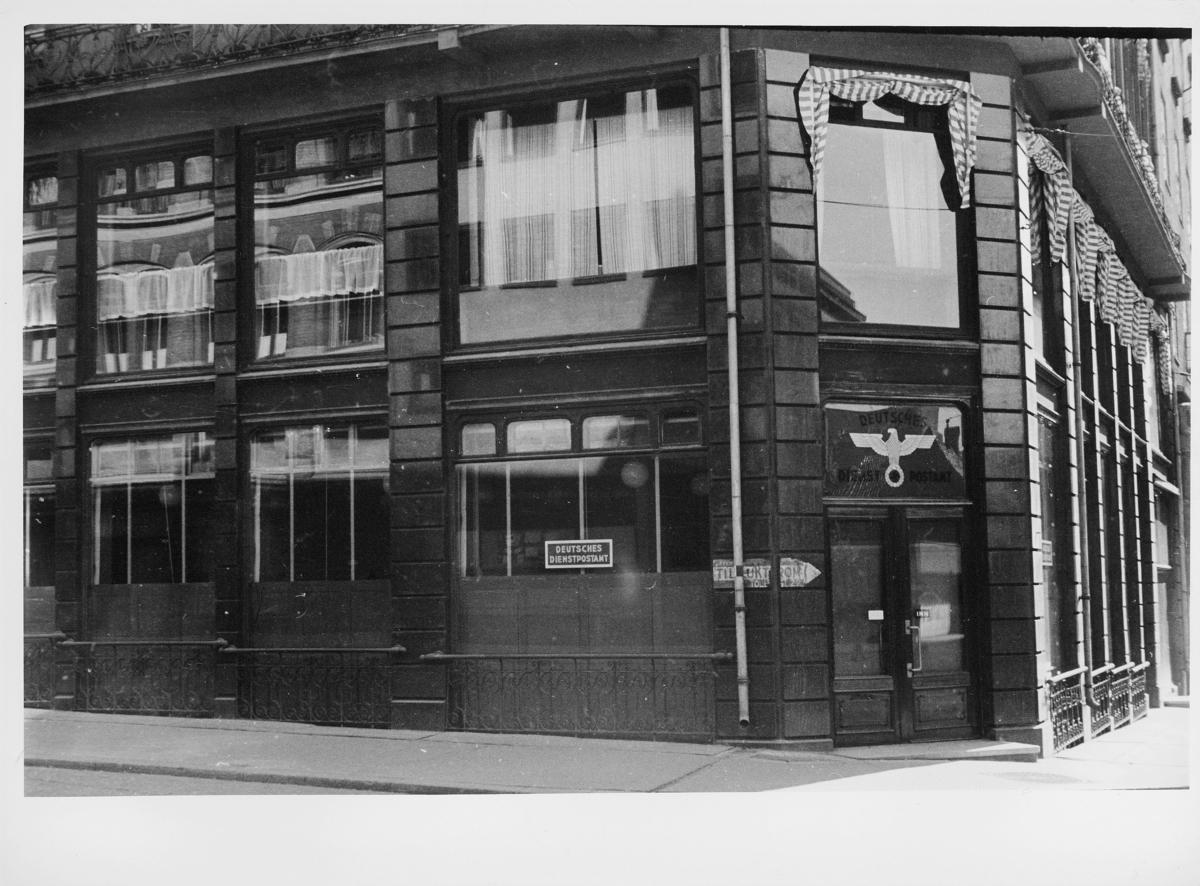 postkontor, eksteriør, Deutsches Dienstpostamt i Oslo, inngangsparti