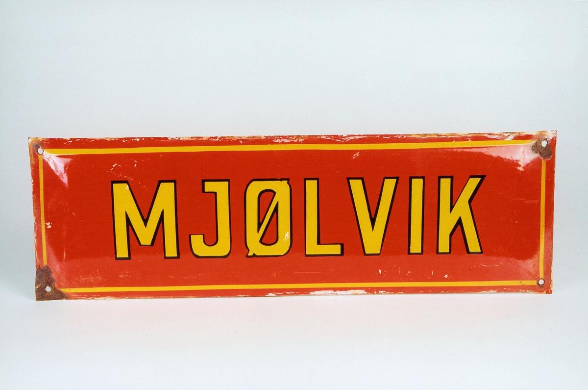 Postmuseet, gjenstander, skilt, stedskilt, stedsnavn, Mjølvik.