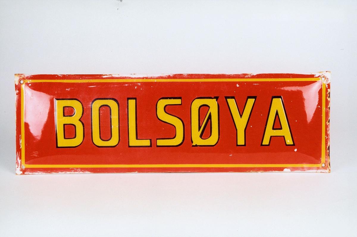 Postmuseet, gjenstander, skilt, stedskilt, stedsnavn, Bolsøya.