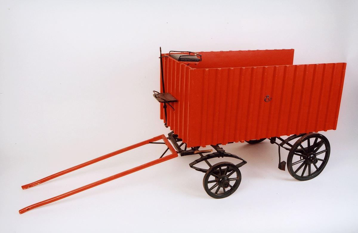 postmuseet, gjenstander, vogn, postvogn, fire hjuls vogn for bytrafikk, uten tak, modell