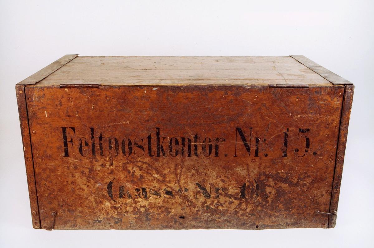 postmuseet, gjenstander, postemballasje, kasse, kiste, feltpostkasse, feltpostkontor nr. 15, kasse nr. 1