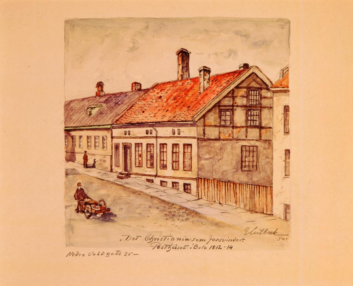 """postmuseet, kunst, akvareller, G. Kulbeck: """"Det Christiania som forsvinder, Nedre Voldgate 25"""", eksteriør, Posthuset i Oslo 1812-14, motivet finnes også på CD-rom PRO1, bilde nr 94"""