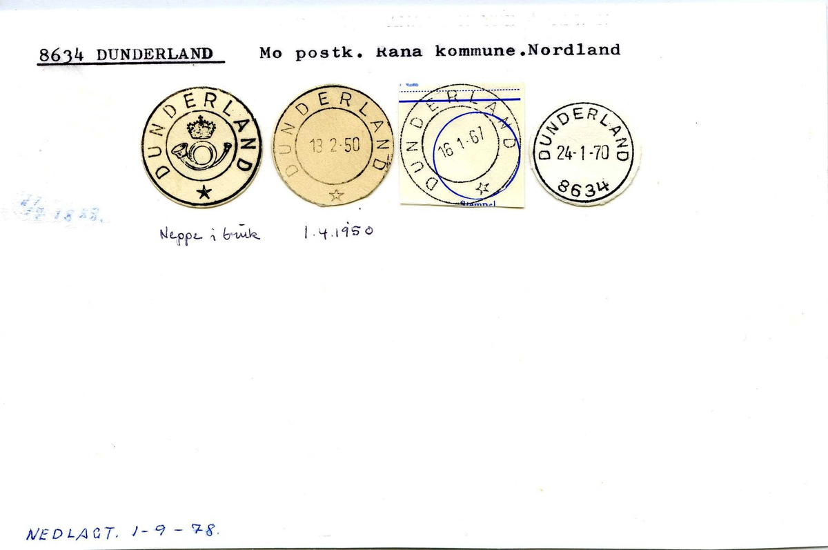 Stempelkatalog, 8634 Dunderland. Mo postkontor. Rana kommune. Nordland fylke.